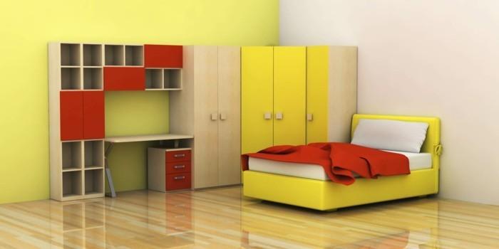 Schöne-Kinderzimmer-in-gelber-Farbe