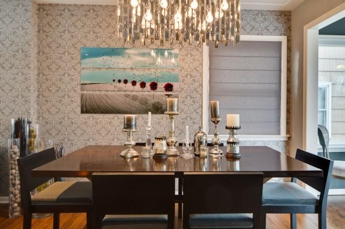 Schöne-Tischdekoration-Esstisch-Deko-Gläser-für-Kerzen