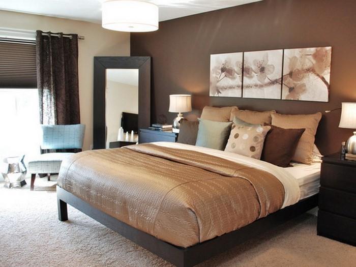 Schlafzimmer-braun-Eine-auffällige-Dekoration