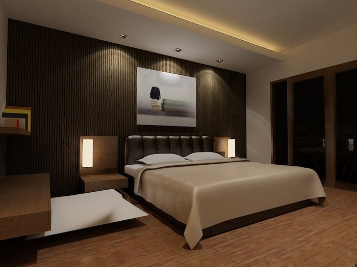 Schlafzimmer-braun-Eine-verblüffende-Dekoration