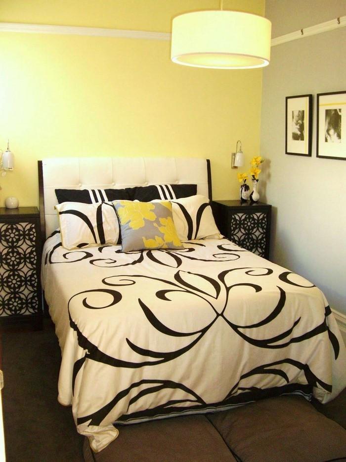 Schlafzimmer-farblich-gestalten-mit-Gelb-Eine-auffällige-Deko