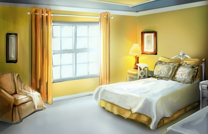 Schlafzimmer-farblich-gestalten-mit-Gelb-Eine-auffällige-Dekoration