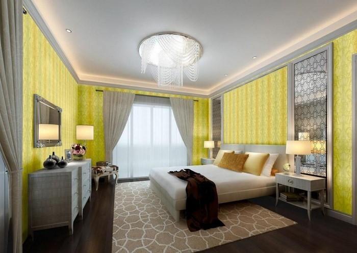 Schlafzimmer Mit Tapete Gestalten : Gestalten Und Tapete : Schlafzimmer gestalten mit Gelb:Ein super