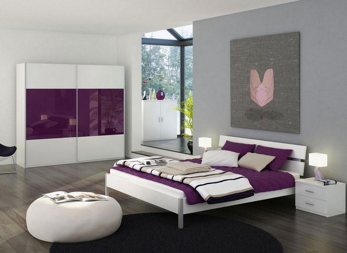 Schlafzimmer-lila-Ein-kreatives-Design