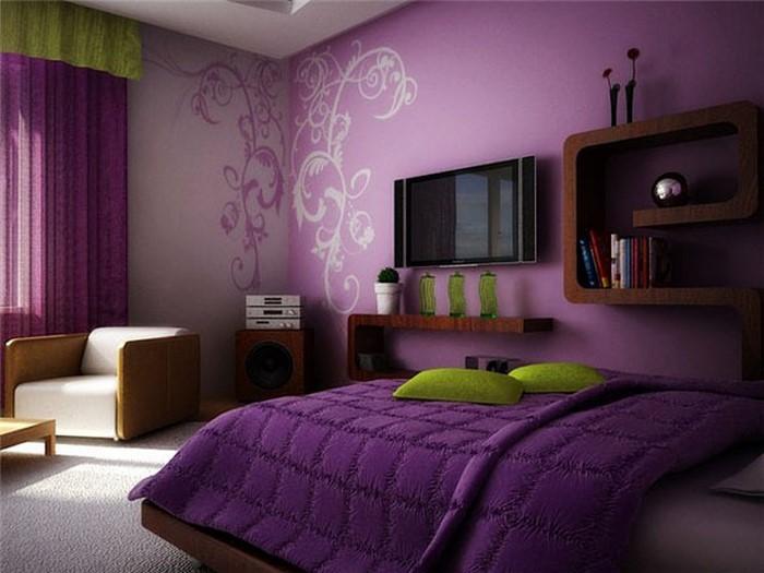 Schlafzimmer-lila-Ein-kreatives-Interieur