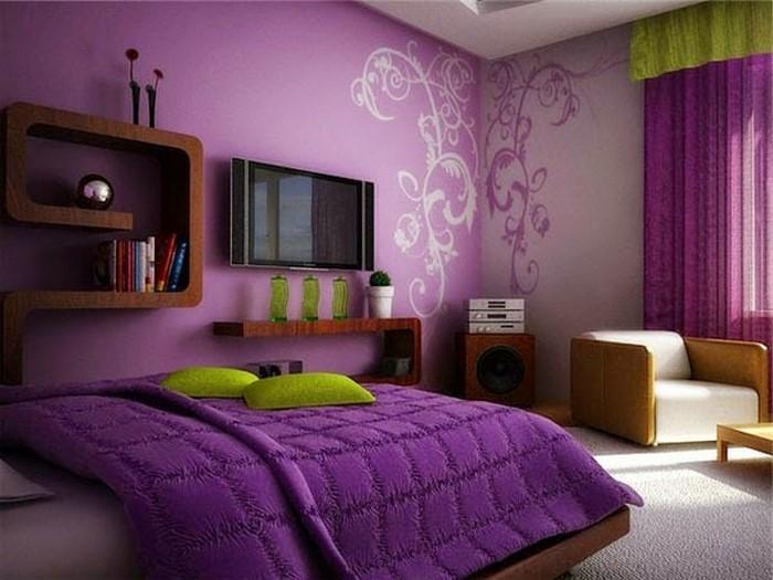 Schlafzimmer-lila-Eine-auffällige-Ausstattung