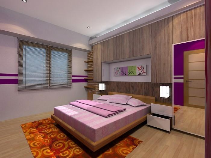 Schlafzimmer-lila-Eine-auffällige-Dekoration