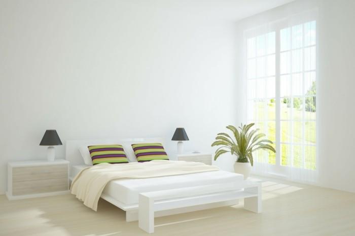 Schlafzimmer-nach-Feng-Shui-mit-Palmen