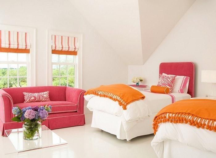 Schlafzimmer-orange-Ein-auffälliges-Interieur