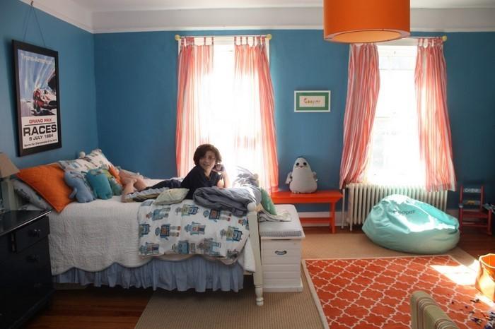 Schlafzimmer-orange-Ein-kreatives-Interieur