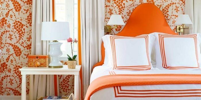 Schlafzimmer-orange-Eine-außergewöhnliche-Dekoration