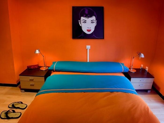 Schlafzimmer-orange-Eine-coole-Ausstattung