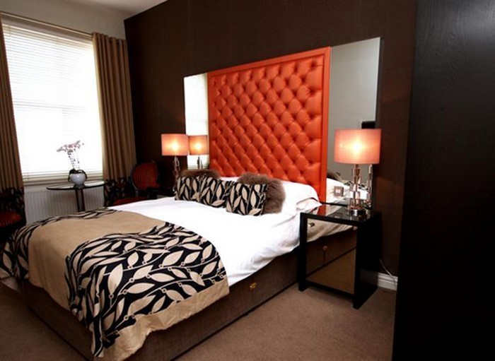 schlafzimmer in orange einrichten und dekorieren. Black Bedroom Furniture Sets. Home Design Ideas