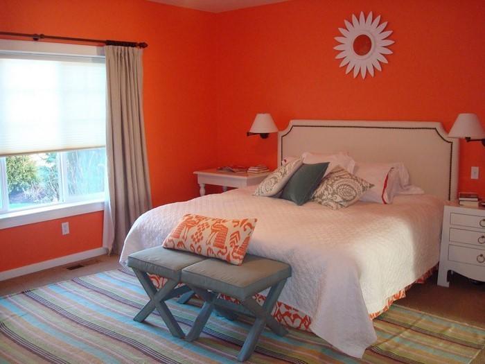 Wandgestaltung schlafzimmer orange ~ Ideen für die ...