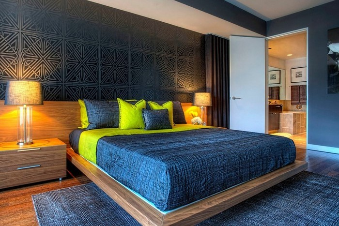 Schlafzimmereinrichtung-in-Blau-Ein-modernes-Interieur