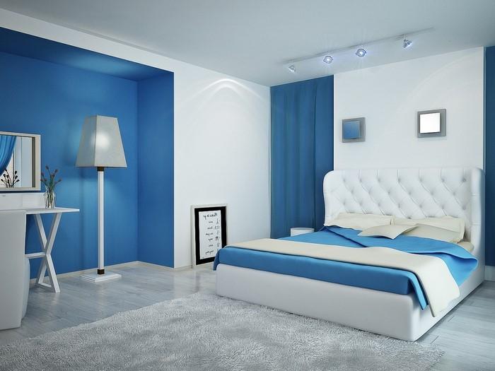 Schlafzimmereinrichtung-in-Blau-Eine-auffällige-Ausstattung