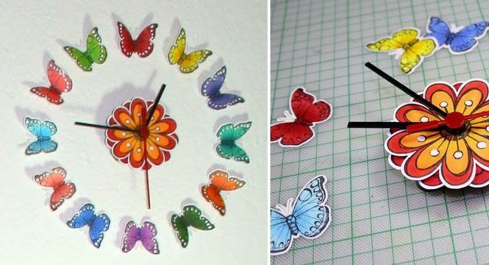 Schmetterlinge-zum-basteln-eine-Uhr