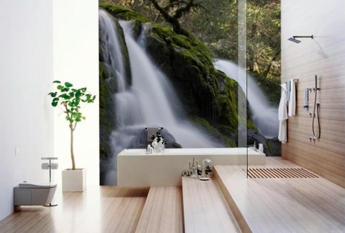 Wandtattoo-Badezimmer-ein-faszinierender-Wasserfall