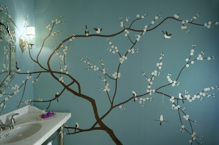 Wandtattoo-Badezimmer-mit-Zweigen-in-Blüte