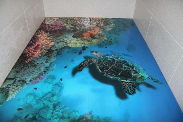 Wandtattoo-Badezimmer-wie-schwimmende-Wasserkröte