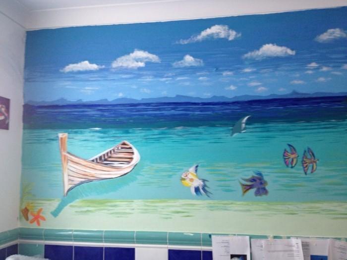 Wandtattoos-Bad-mit-einem-Boot