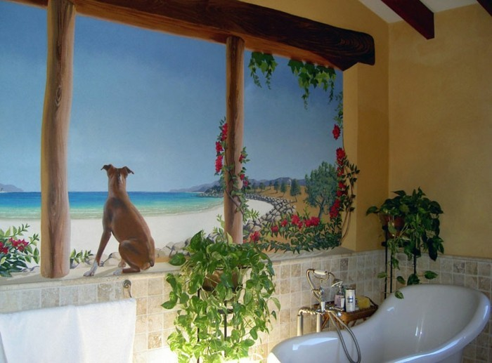 Wandtattoos-Bad-mit-einem-Hund