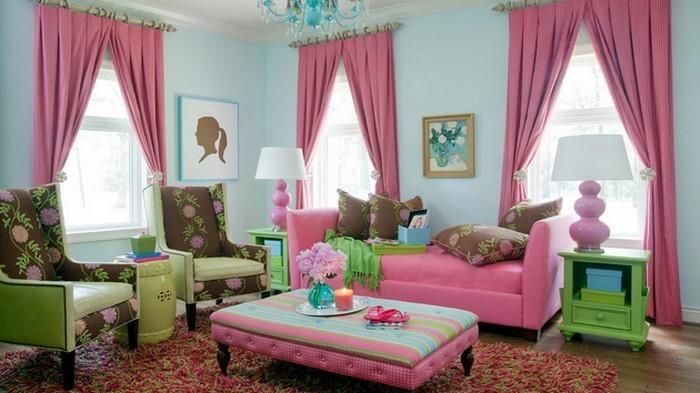 Wohnzimmer-Ideen-mit-Rosa-Eine-außergewöhnliche-Entscheidung