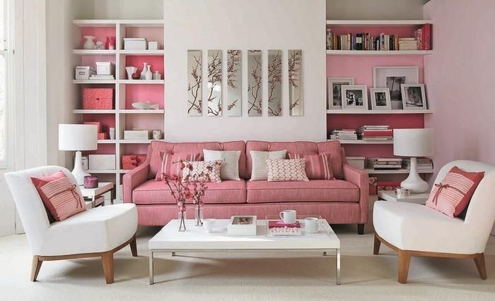 Wohnzimmer-Ideen-mit-Rosa-Eine-auffällige-Ausstattung