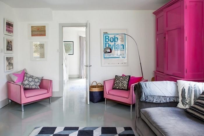 Wohnzimmer-Ideen-mit-Rosa-Eine-kreative-Dekoration