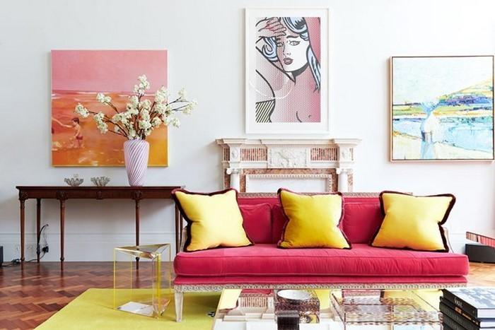 Spomis.com | Wohnzimmer Deko Steinwand Wohnzimmer Ideen Pink