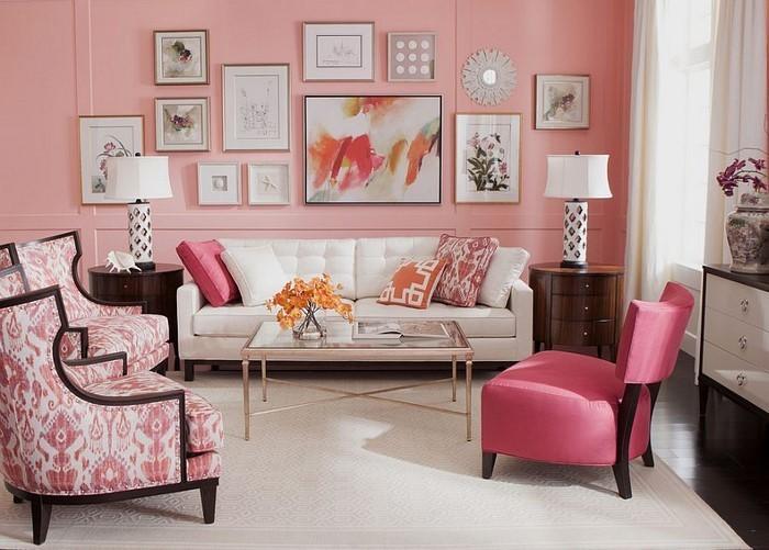 ... Ideen Rosa : Wohnzimmer Ideen mit Rosa: 75 verblüffende Wohnzimmer