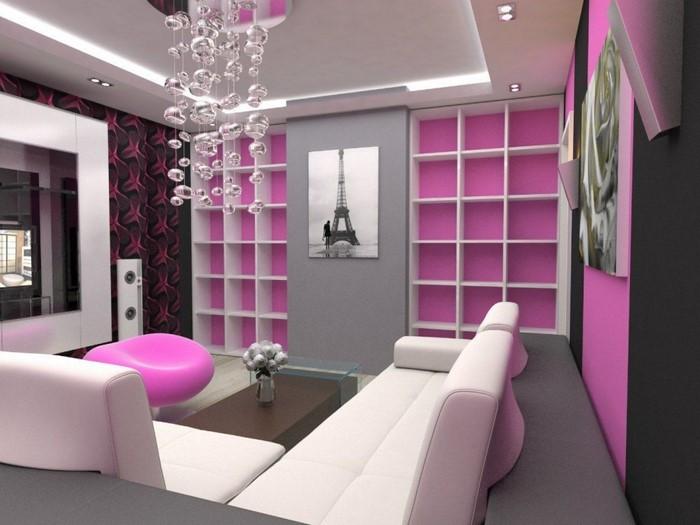 Wohnzimmer-Ideen-mit-Rosa-Eine-verblüffende-Deko