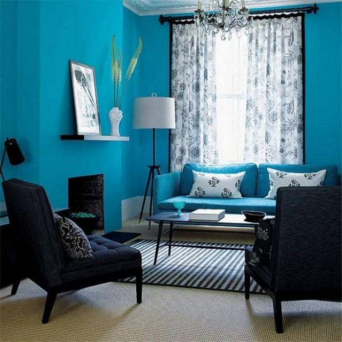 AuBergewohnlich Wohnzimmer Farblich Gestalten: 71 Wohnideen Mit Der Farbe Blau ...