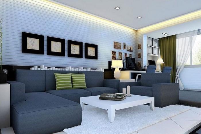 Design Wohnzimmer Einrichten Grau Blau Gewinnen Moderne Einrichtungsideen  Wohnzimmer Plus Modern .