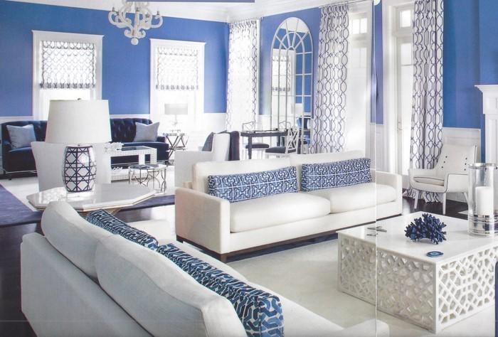 wohnzimmer farblich gestalten 71 wohnideen mit der farbe blau. Black Bedroom Furniture Sets. Home Design Ideas