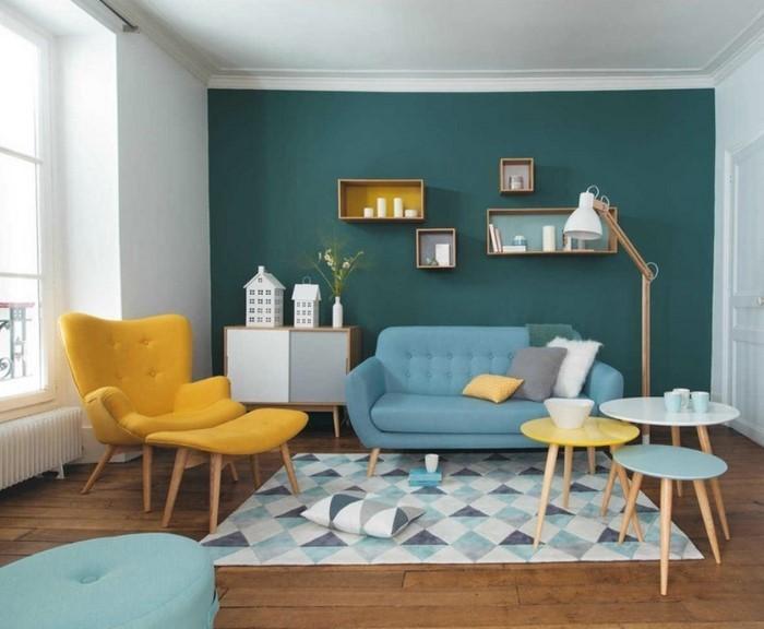 2017 Wohnzimmer Farblich Gestalten Blau