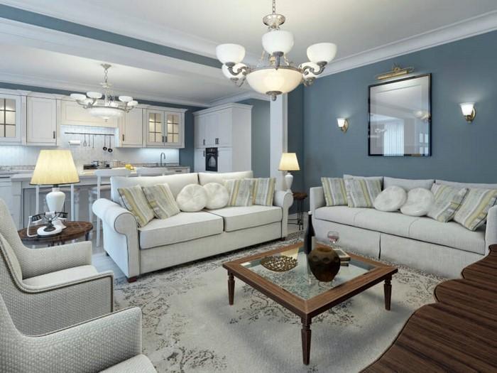 Farbgestaltung Wohnzimmer Blau