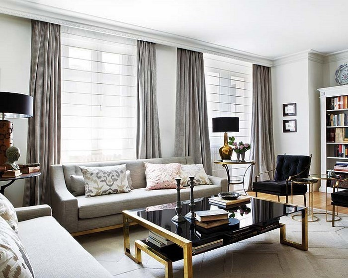grau wohnzimmer:Wohnzimmer grau: Modernes Wohnzimmer in warmen grauen Nuancen