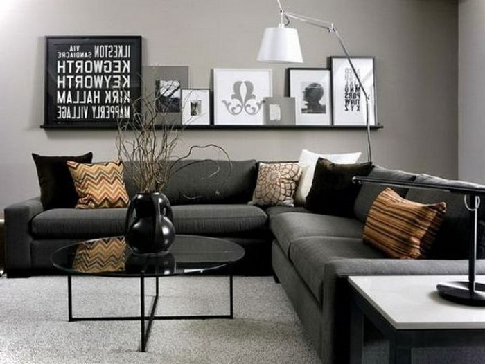 awesome wohnzimmer grau orange images - home design ideas ...