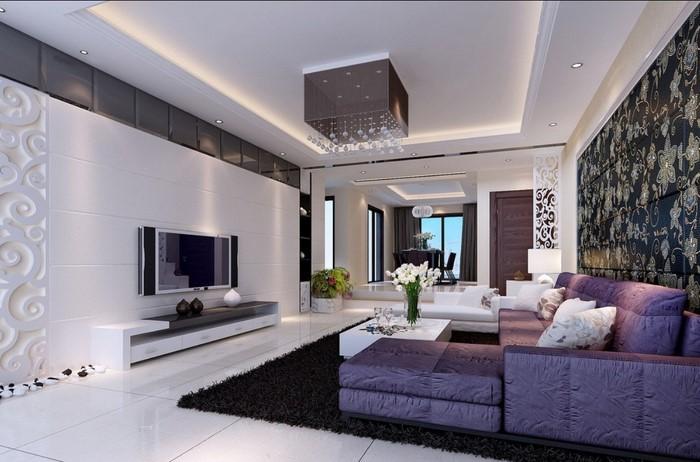 wohnzimmer deko violett:Wohnzimmer Wandgestaltung in lila:Eine außergewöhnliche Entscheidung