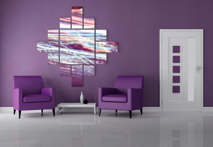 wohnzimmer deko lila:Wohnzimmer-lila-Ein-außergewöhnliches-Interieur