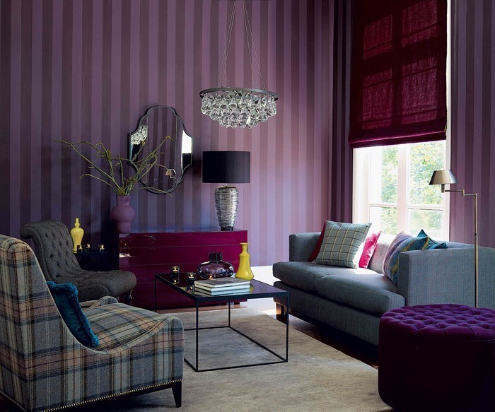 wohnzimmer deko lila:Wohnzimmer-lila-Ein-auffälliges-Design