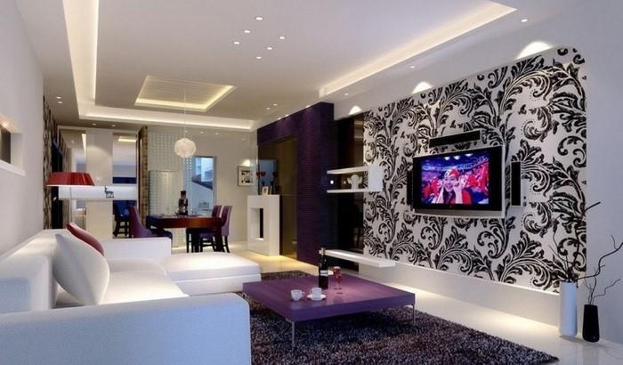 Wohnzimmer lila gestalten: 79 tolle Deko Ideen