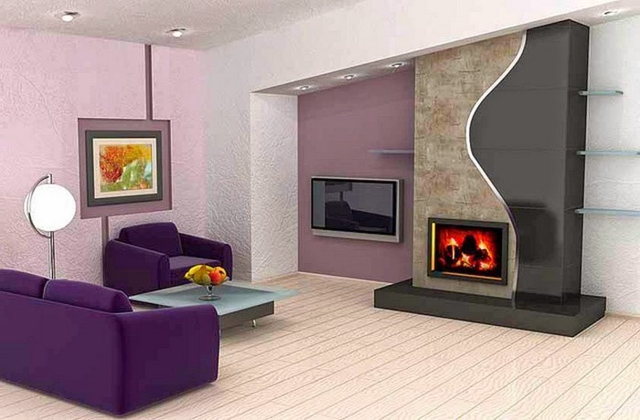 Wohnzimmer-lila-Ein-modernes-Interieur