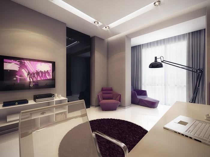 Wohnzimmer lila gestalten 79 tolle deko ideen - Wandfarbe dunkellila ...
