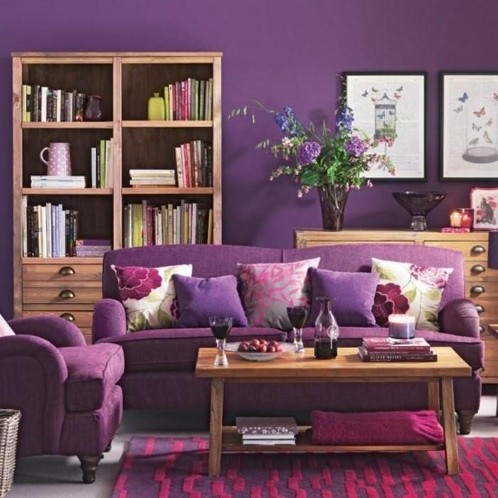 wohnzimmer lila gestalten: 79 tolle deko ideen, Moderne deko