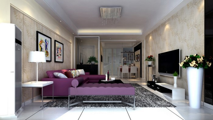 wohnzimmer deko lila:Wohnzimmer-lila-Eine-außergewöhnliche-Entscheidung