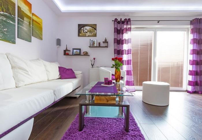 Deko Wohnzimmer Lila Idee Gelb Ideen