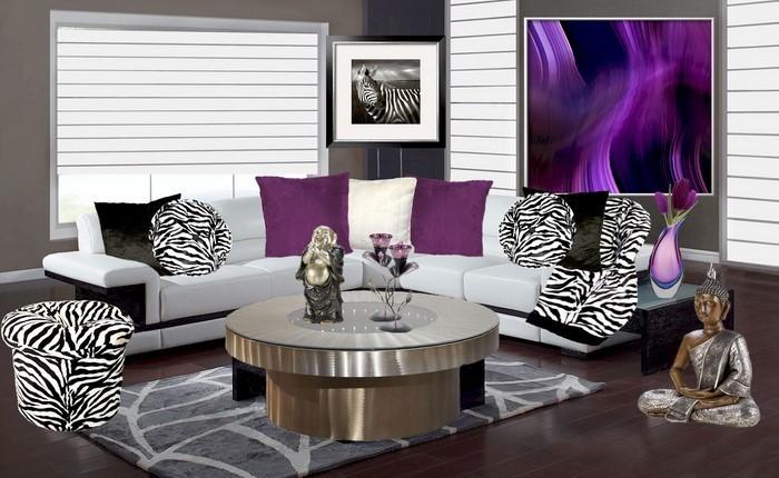 wohnzimmer deko lila:Wohnzimmer-lila-Eine-auffällige-Entscheidung