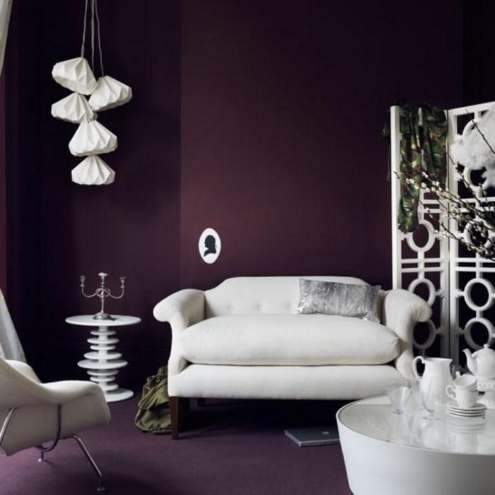 Beispiele Wandfarbe Lila Wohnzimmer , Wohnzimmer Ideen Lila Parsvending
